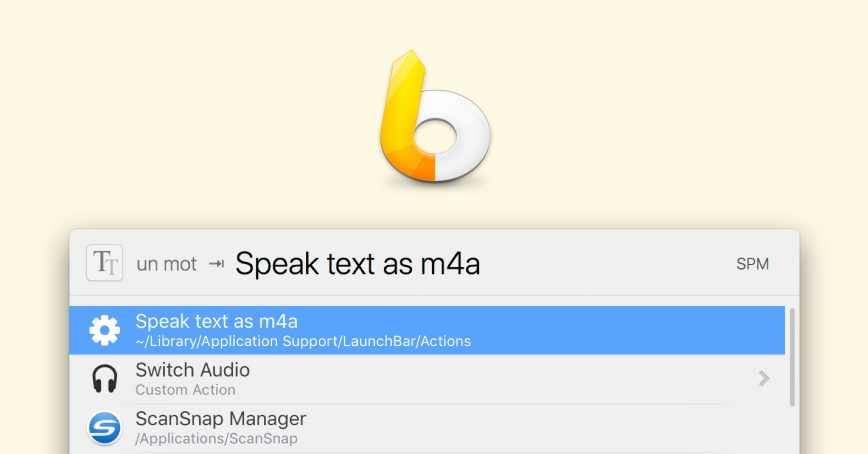 LaunchBar action to generate spoken audio files